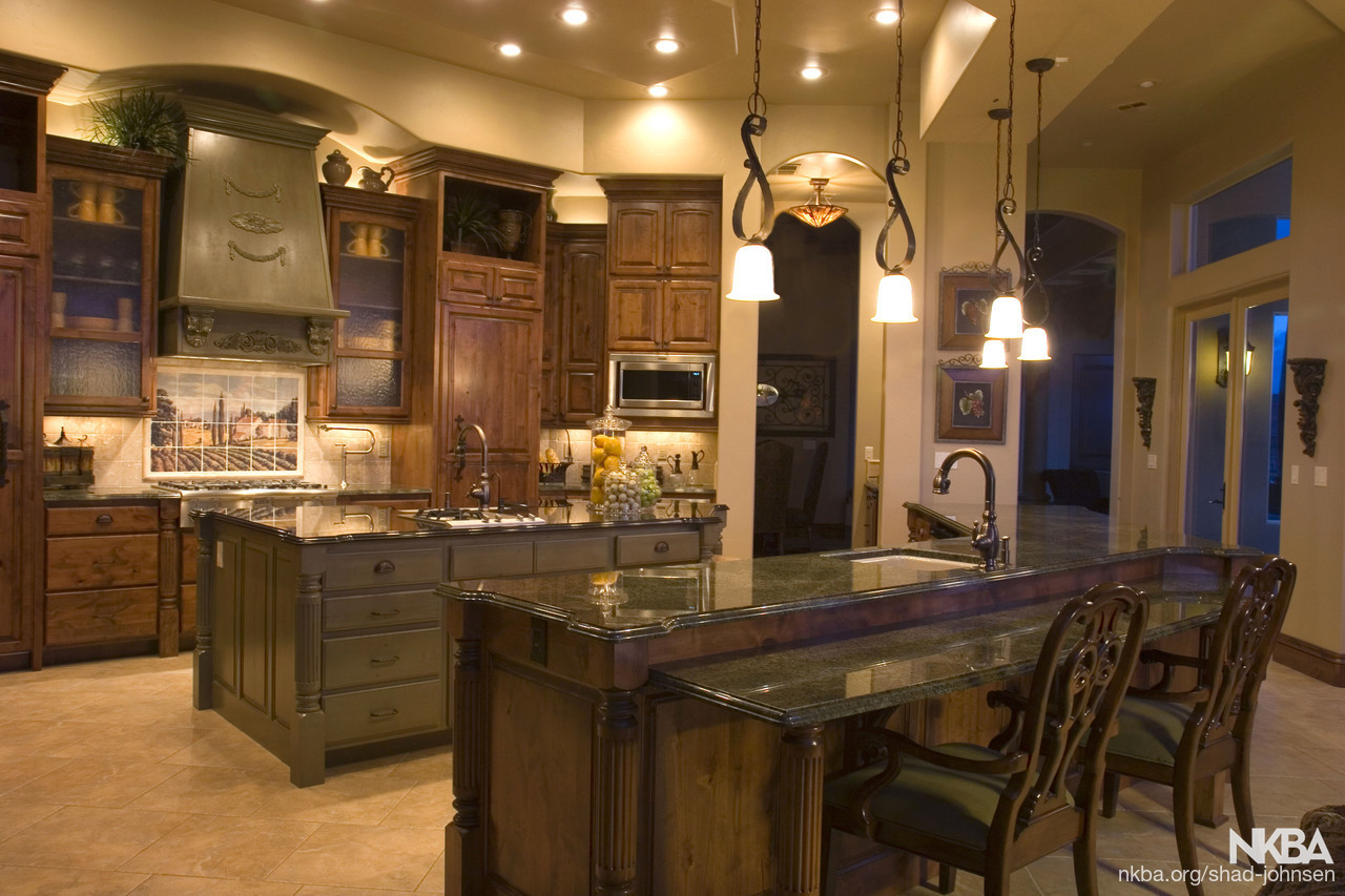 Tuscan Kitchen With 2 Islands Nkba