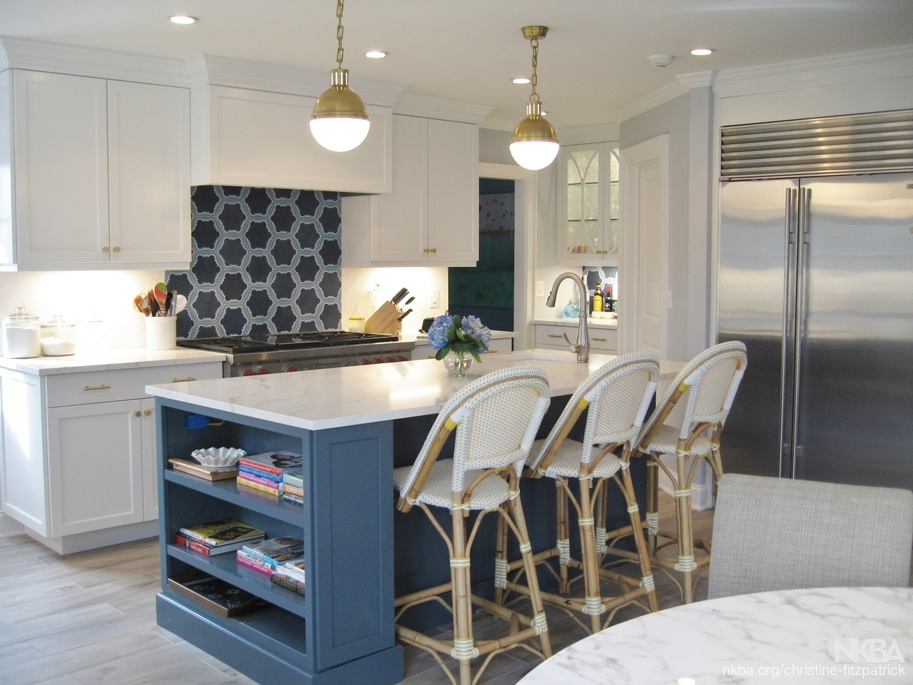 Gray Blue Island With White Perimiter Cabinets Transitional Kitchen