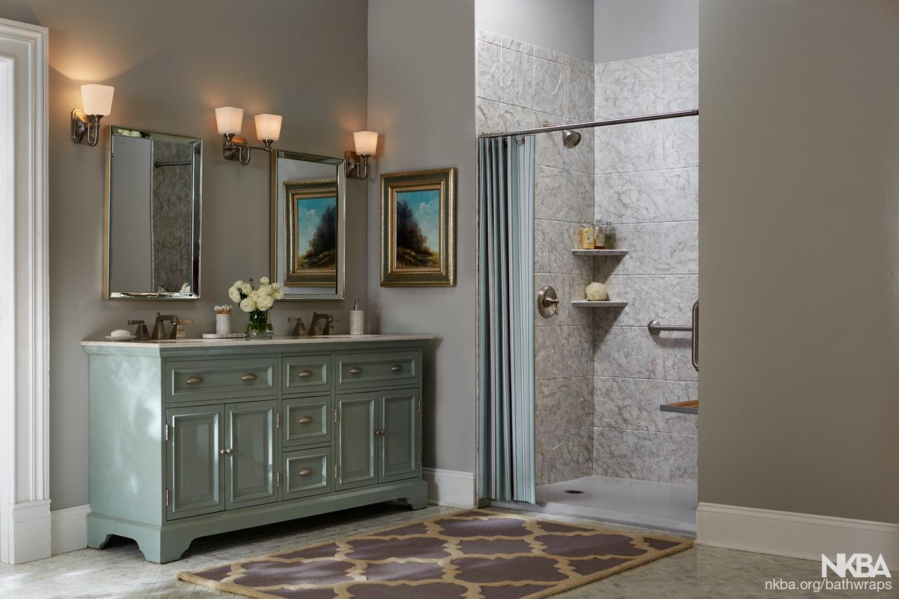 bathroom wraps. Custom Barrier Free Shower - Transitional Bath Bathroom Wraps R