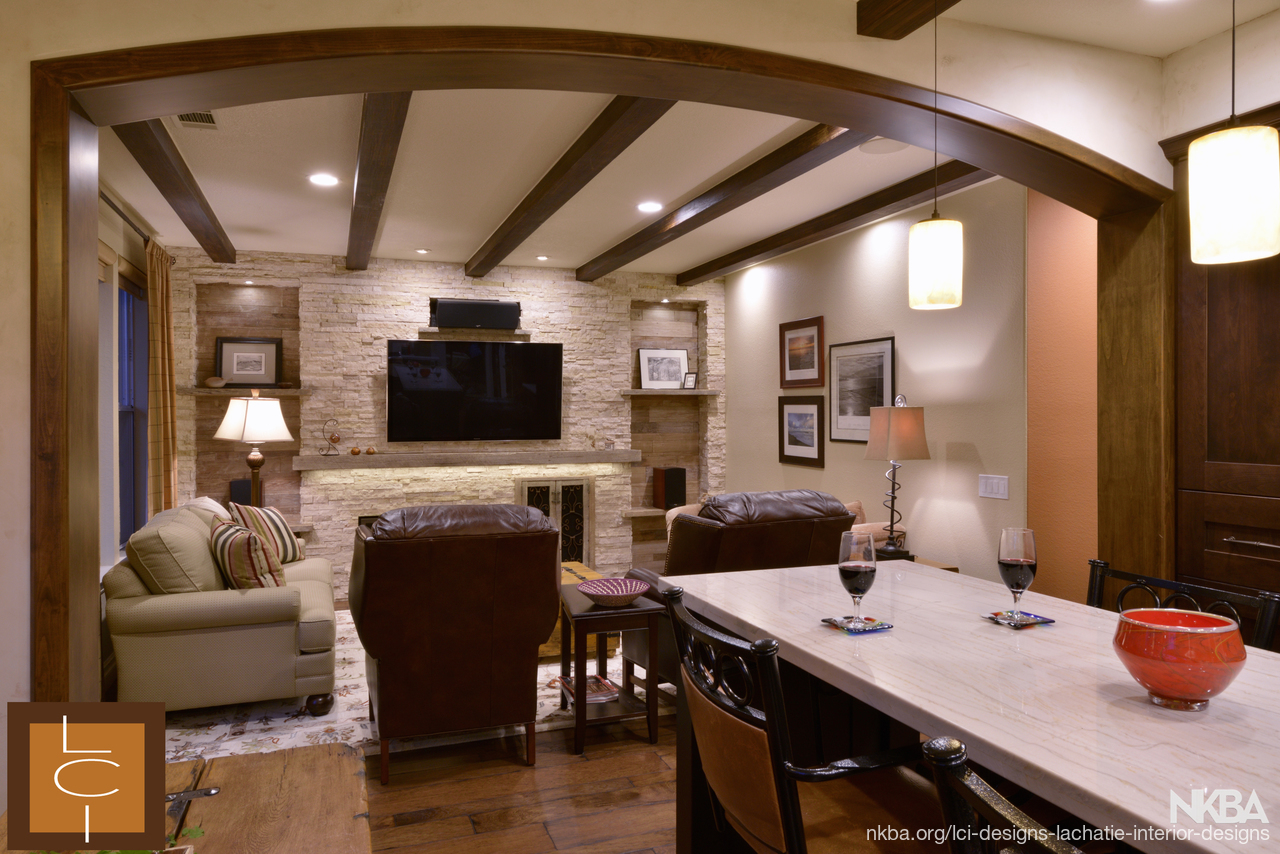 Kitchen With Bistro Table Remodel And Family Room Transitional