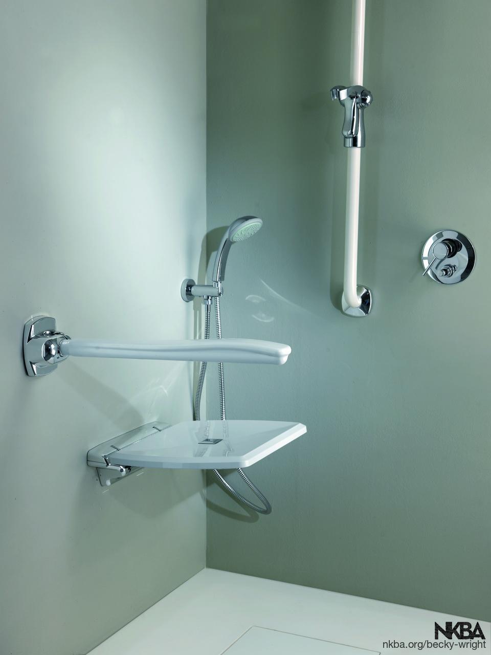 Folding Shower Seat and Folding Grab Bar - NKBA