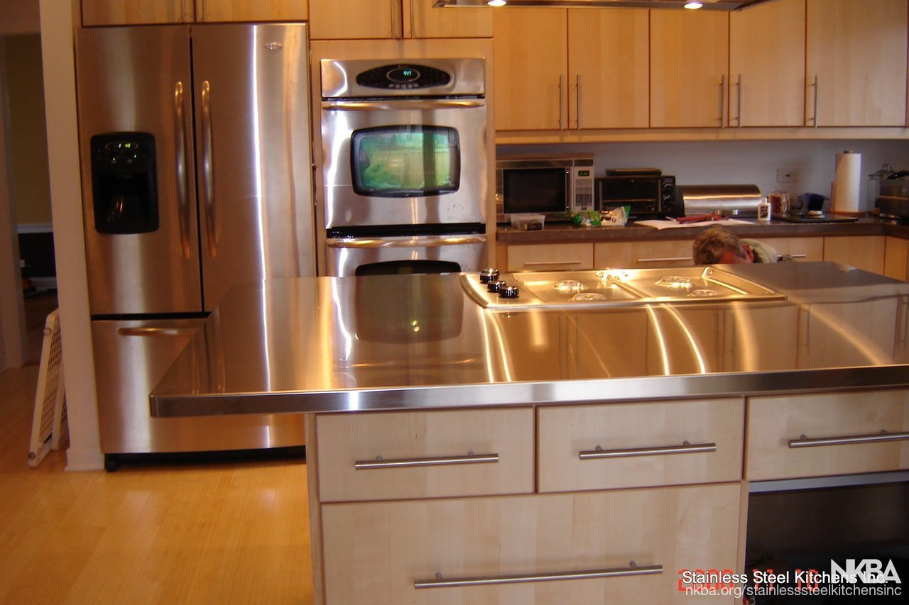 Stainless Steel Island Countertop Contemporary Kitchen
