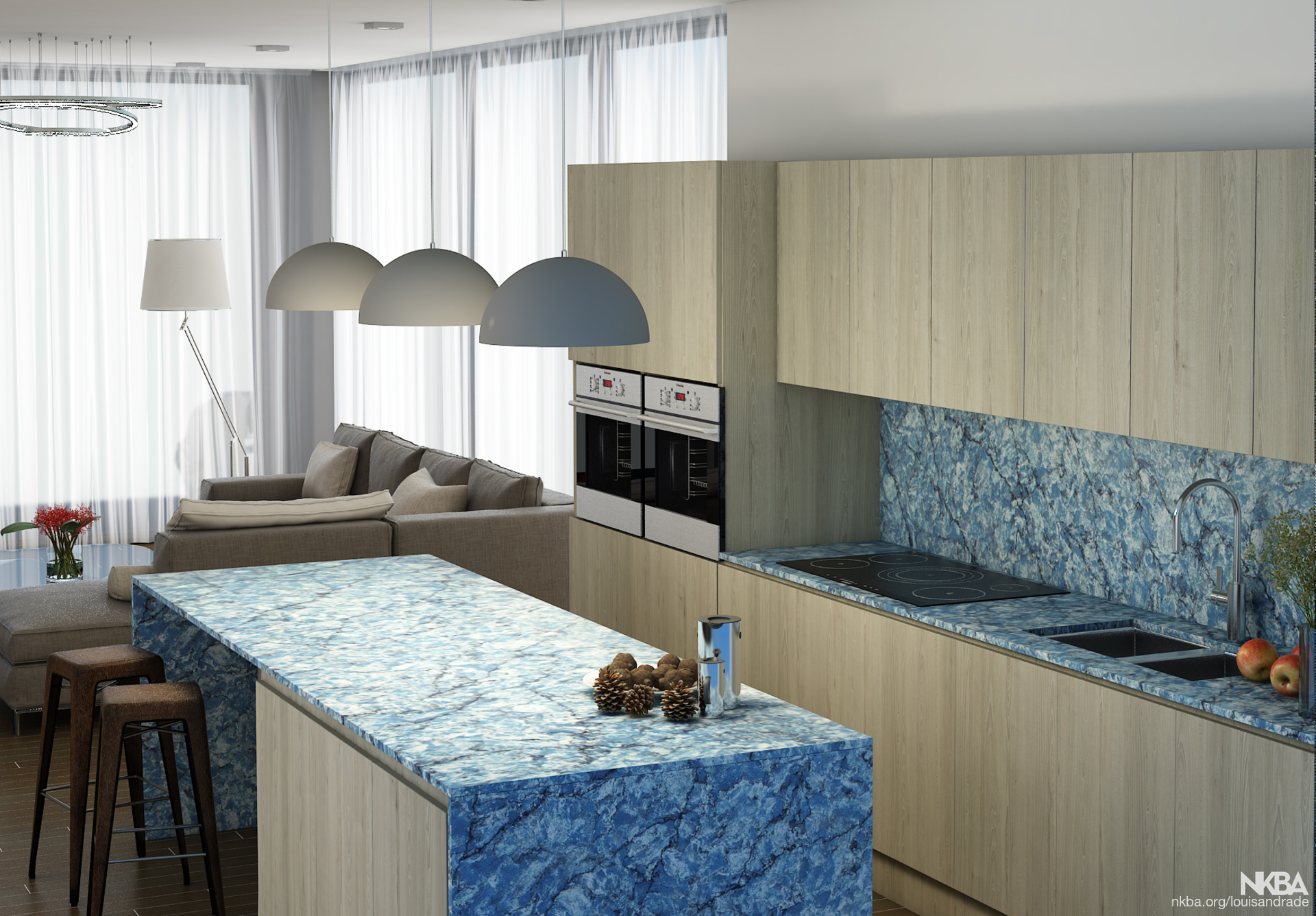 Coastal Modern Kitchen With Blue Quartz Countertops Nkba