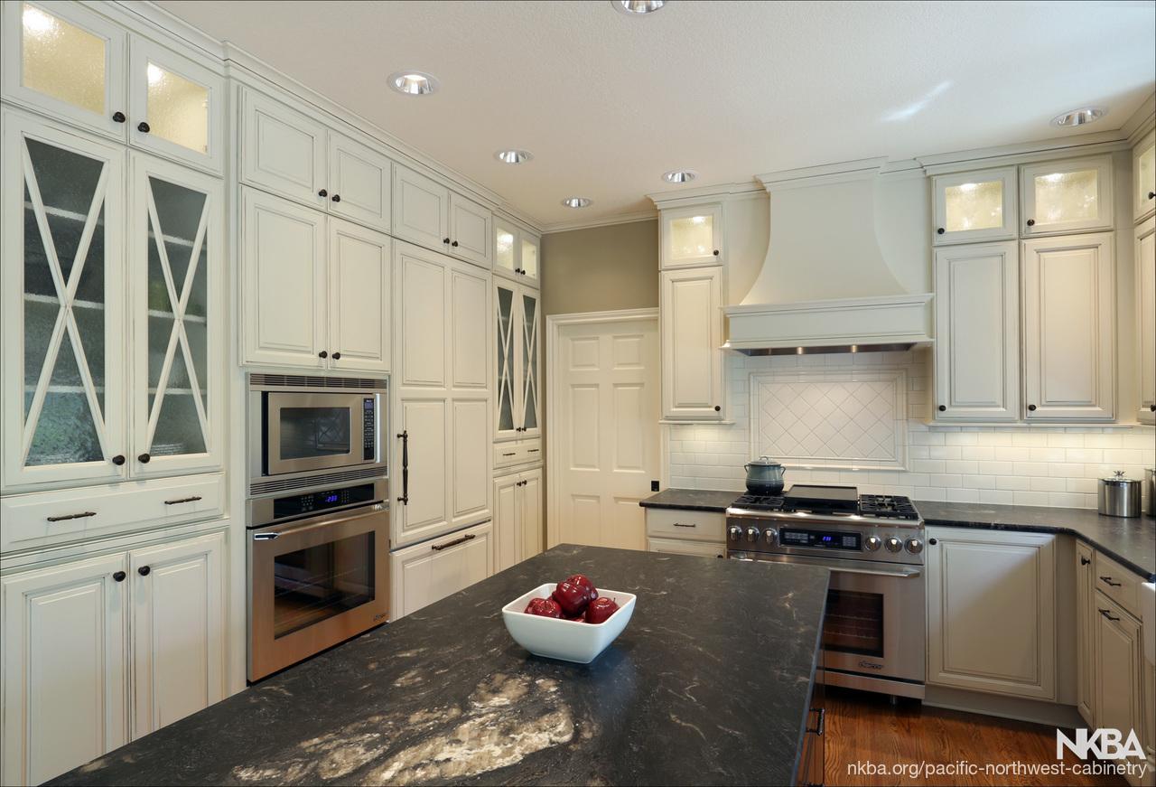 White Kitchen With Black Granite Remodel Nkba