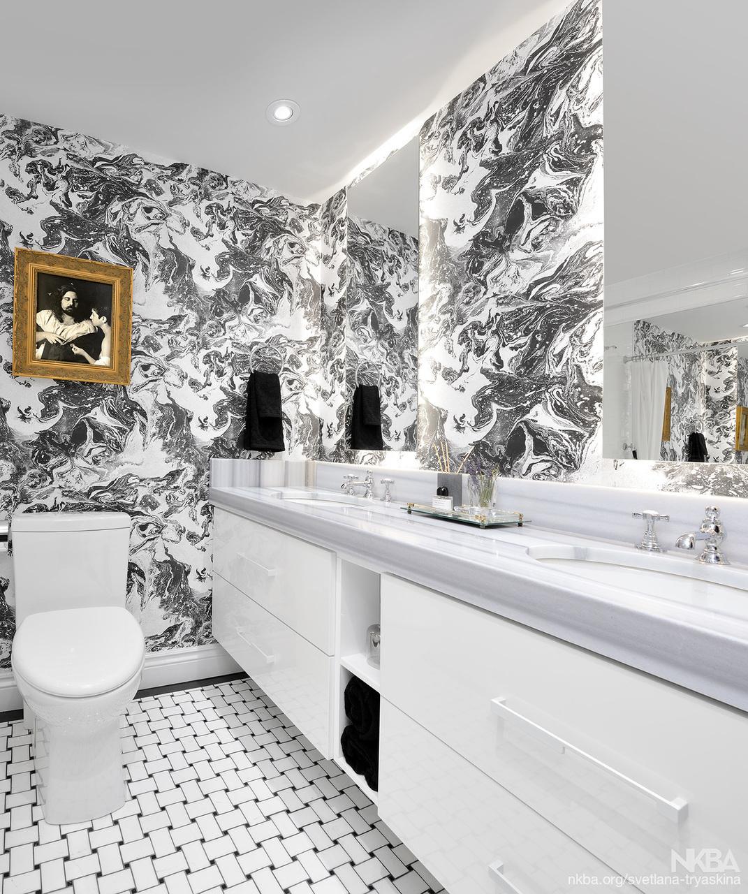 Black and White bathroom. - NKBA