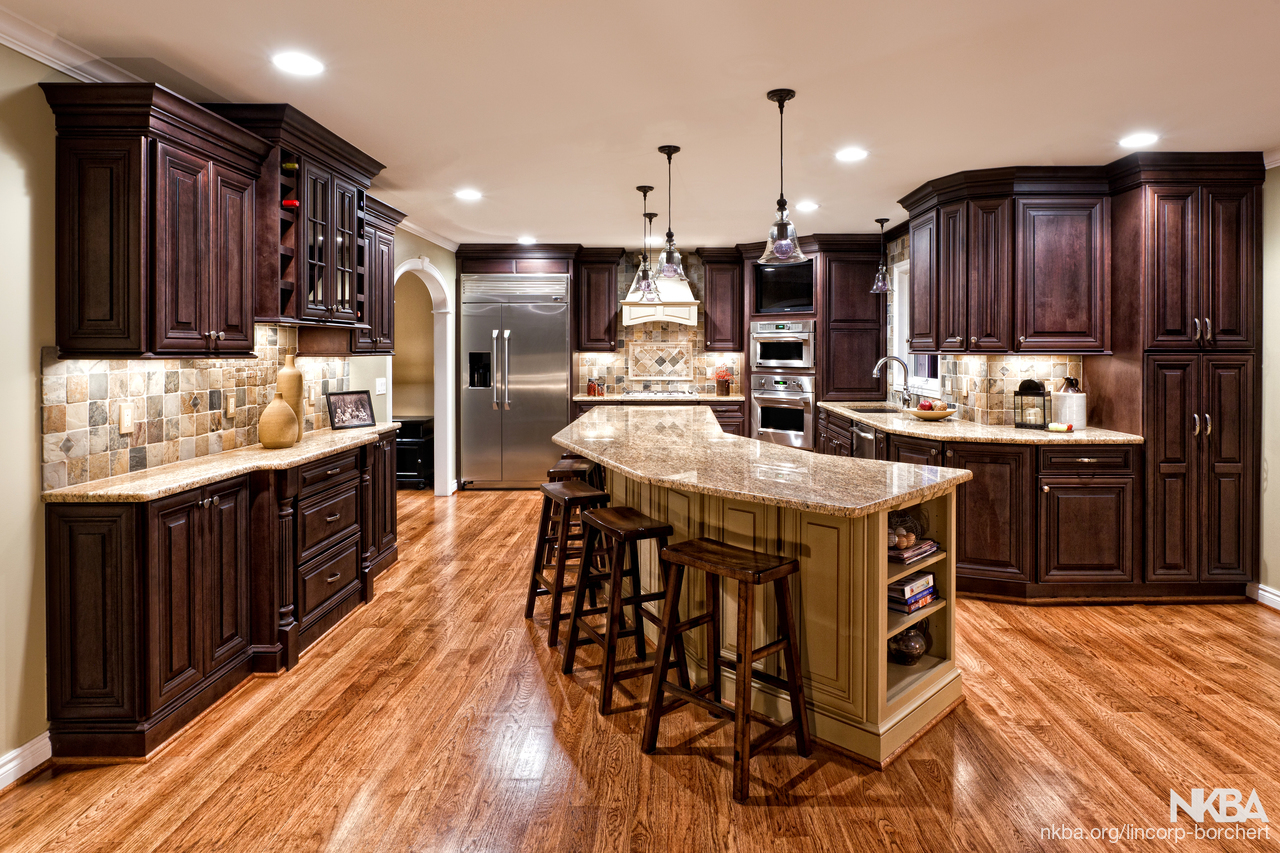 Large Kitchen Remodel With Dark Cabinets And Cherry Floors