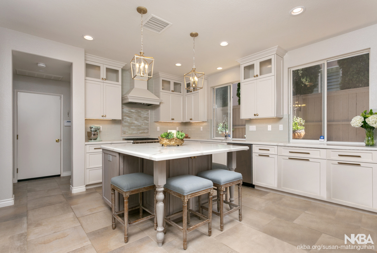 Gray Off White Kitchen Transitional