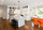 White Kitchen with a splash of Orange - Transitional - Kitchen