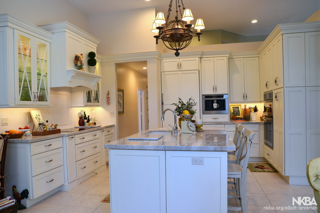 Kitchen Remodel with White Cabinets and Quartzite Countertop ...