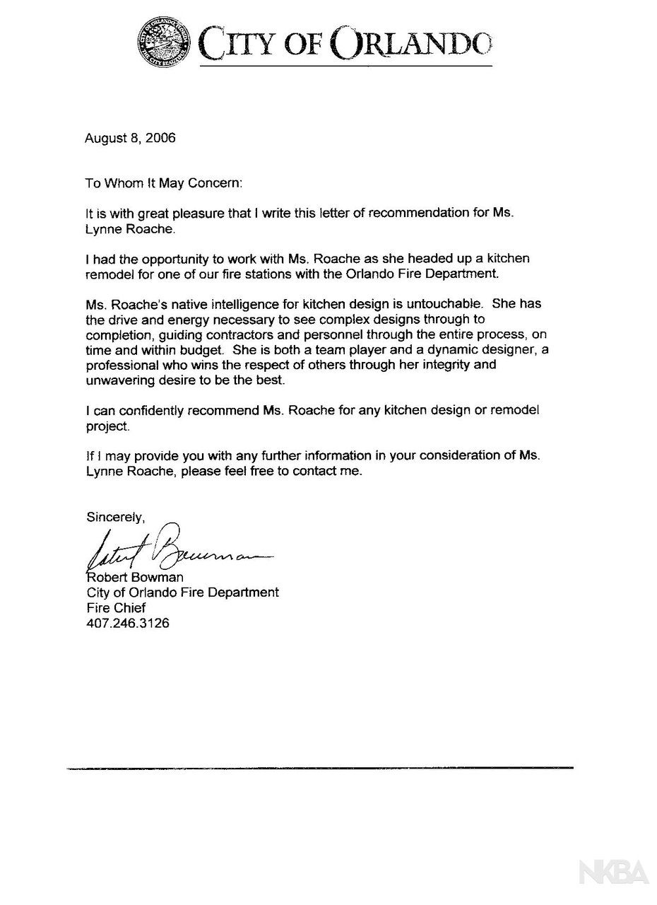 Referral letter from Orlando Fire Chief - NKBA