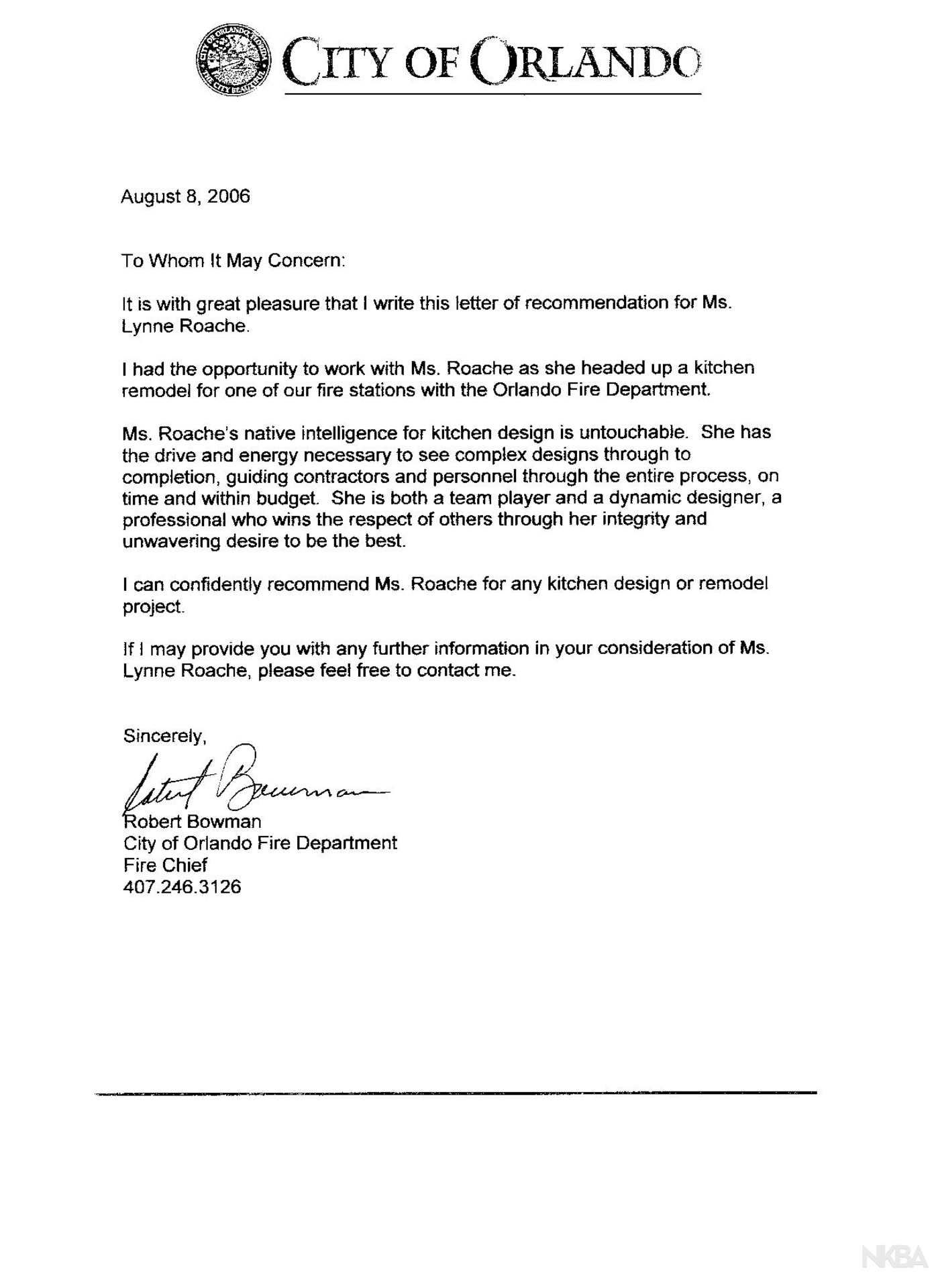referral letter from orlando fire chief