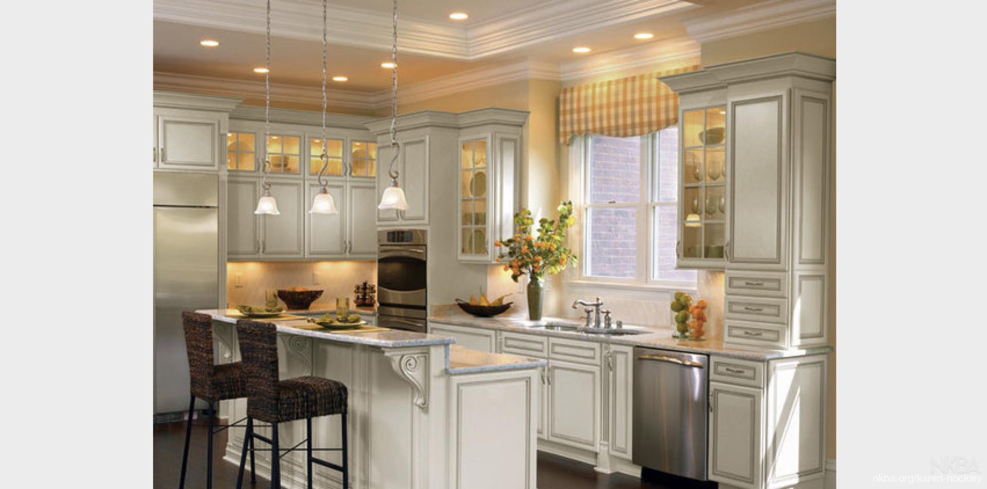 Pristine White Cabinets With Yellow Accents Nkba